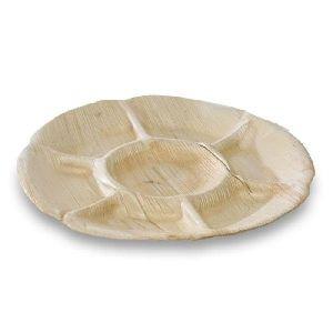 Talerz z liści palmowych okrągły dzielony na 7 śr.30xh.3cm op. 10 sztuk