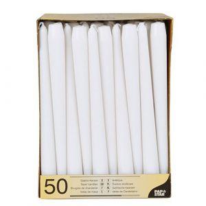 Świece stożkowe 25 cm białe średnic 2,2 cm op. 50 sztuk