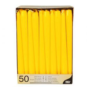 Świece stożkowe 25 cm żółte średnica 2,2 cm op. 50 sztuk