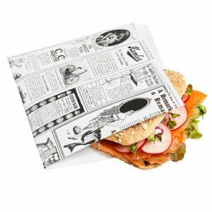 TIMES biała torebka burger/kebab 16x16,5cm, tłuszczoodporny pergamin, op. 500 sztuk