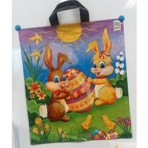 Reusable carrier bags HANDLE 44x50 Easter bunnies 50 mic. thick, 25 pieces