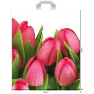 Torby wielorazowe 39x45cm Tulipany z uchwytem, op.50szt.(k/10) 35 µm
