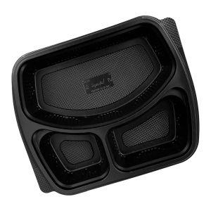 V 414 Lunch container 890ml, 50 pcs, tripartite (c/8), black, PP