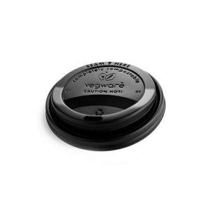 Dekiel 90mm C-PLA do kubka czarny  op.100szt., biodegradowalny (k/10)