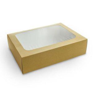 Pudełko na kanapki kraft, okno PLA op.25szt., 450x310x82mm, biodegradowalne
