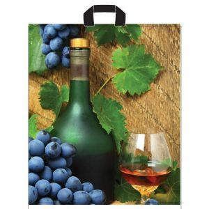 Reusable bags 39x45cm Wine with handle, 50pcs(k/10) 35 µm