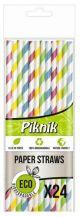 PIKNIK słomki papierowe op.24szt mix kolorów, paski (k/100) śr.6mm dł.20cm