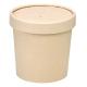 Pojemnik z papieru bambusowego+PLA 350ml śr.90mm, pokrywka w komplecie, 100% biodegradowalne kpl. 25 sztuk
