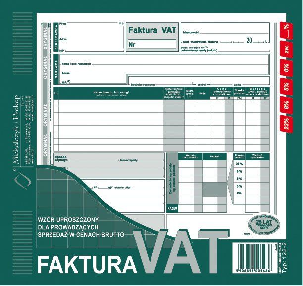 Faktura Vat Michalczyk I Prokop 23 A4 80 Kartek Druki